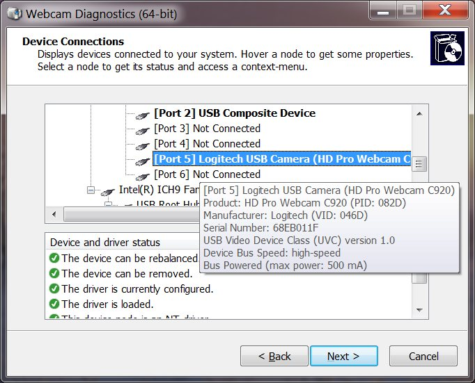 Click to view Webcam Diagnostics screenshots