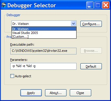 Debugger Selector Screen shot