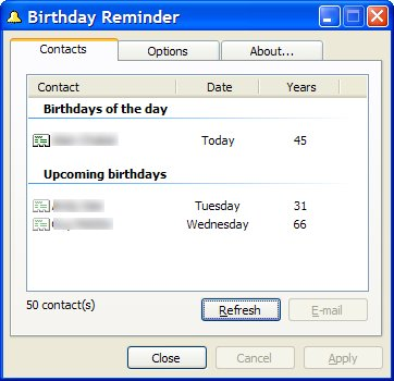 Birthday Reminder displays current birthdays from the default address book